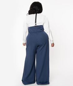 Unique Vintage Plus Size Navy & White Pin Stripe Thelma Suspender Pants Plus Size Vintage, Unique Vintage, Balloon Pants, Suspender Pants, Plus Size Pants, Plus Size Fashion For Women, Vintage Skirt, Unique Fashion, Suits For Women