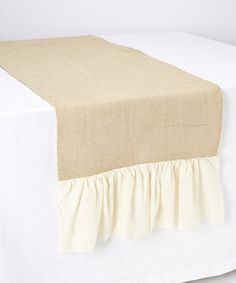 Look what I found on #zulily! Gathered-Edge Burlap Table Runner #zulilyfinds