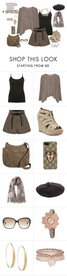 """Taupe and Brown"" by cody-k ❤ liked on Polyvore featuring M&Co, 3.1 Phillip Lim, Gucci, Sonia Rykiel, Hogan, Michael Kors, Lana, Monsoon and Lanvin"
