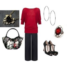 """Red and Black Rose"" by violetfemme-71 on Polyvore"