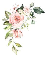 decorative watercolor flowers floral illustration Leaf and buds Botanic composition for wedding or greeting card branch of flowers - abstraction roses romantic - Buy this stock illustration and explore similar illustrations at Adobe Stock Adobe Stock Watercolor Rose, Watercolor Wedding, Flower Logo, Floral Wreath, Floral Flowers, Floral Illustrations, Rose Design, Flower Pictures, Flower Cards