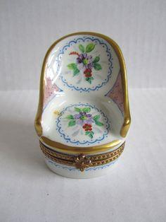 Limoges Paris France Vintage Porcelain Hand Painted Chair Trinket Box