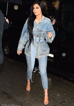 Doubled up: On Sunday, Kylie Jenner, 19, stepped out for dinner clad in a denim-on-denim look