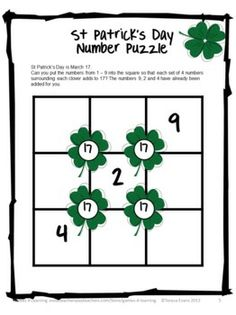 FREEBIE St Patrick's Day Math Printables from Games 4 Learning. This set includes 3 St. Patrick's Day math activities.
