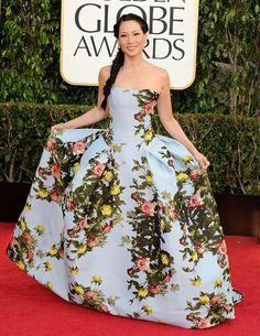 Lucy Liu looked ladylike in a Carolina Herrera dress and Lorraine Schwartz jewelry at the 2013 Golden Globes.