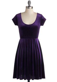 Vivacious in Velvet Dress in Purple - Knit, Mid-length, Purple, Solid, Party, A-line, Cap Sleeves, Good, Scoop, Vintage Inspired, 90s, Minimal