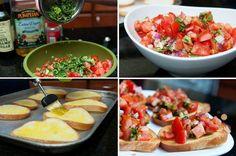 Sem ideia do que fazer para o lanche? Bruscheta de tomate é a nossa sugestão para hoje!  Corte o pão em fatias médias para finas, pincele azeite e leve ao forno. Enquanto isso pique a cebola, o alho, o tomate, a salsinha, tempere e misture bem. Agora é só colocar a saladinha por cima das torradas e bom apetite! #receitas #recipes #Bruscheta