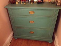 Lovely chest of drawers painted with Autentico Antique Turquoise finished with dark wax