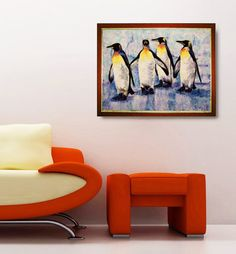 Felt picture Royal penguins. Made to order. by MariannaBu on Etsy