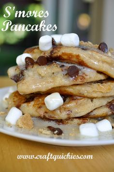 S'mores Pancakes! Did you hear that? S'mores pancakes!! @Sarah Chintomby Chintomby Chintomby Chintomby McKenna of Craft Quickies - you're my hero!!