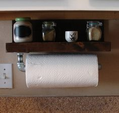 Industrial Rustic Paper Towel Holder with Shelf by KeoDecor, $65.00