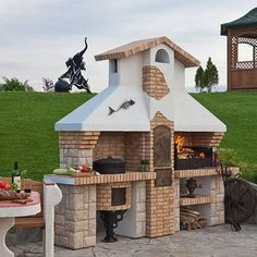 20 Modern Fireplace Design Ideas for Outdoor Living Spaces Outdoor Kitchen Grill, Outdoor Oven, Outdoor Cooking, Outdoor Grilling, Parrilla Exterior, Barbecue Area, Wood Fired Oven, Summer Kitchen, Outdoor Living