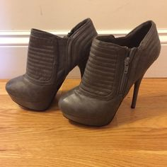 Booties Gray platform booties Charlotte Russe Shoes Sandals