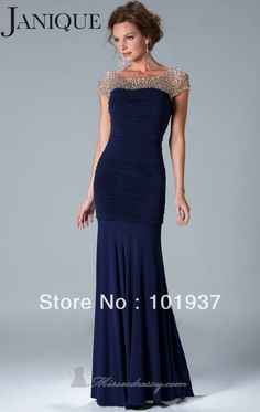 New Navy Blue Short Sleeves Formal Evening Gowns Prom Dress Long With Beads Pleat Rhinestone Chiffon Mermaid Custom Made K6037