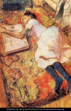 Young Girl Reading On the Floor, by Edgar Degas