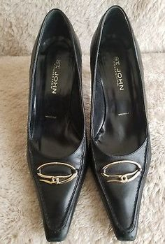 10084be3e48 John Collection black leather pump heels size 7 B Italy Bottoms do have  wear from being worn