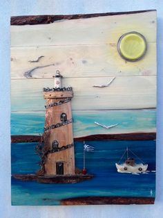 light house made from pallet wood and several materials Wood Block Crafts, Wood Blocks, Wood Projects, Nautical Wall Decor, Nautical Art, Wood Pallet Art, Wood Pallets, Lighthouse Painting, Watercolor Pictures