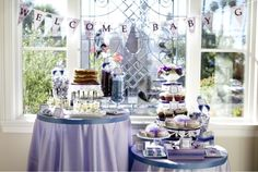Purple baby shower. Blueberry parfaits and lavender accents