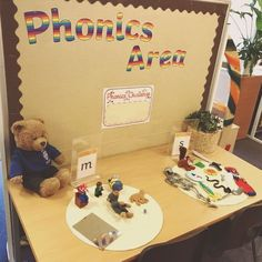 I love this idea. can't remember where I saw it now! I am definitely going to find somewhere in my classroom to do something like this. Jolly Phonics Activities, Preschool Phonics, Eyfs Activities, Phonics Games, Preschool Writing, Teaching Phonics, Alphabet Activities, Primary Teaching, Class Activities