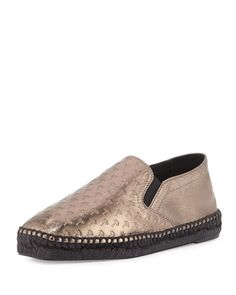 Tomas Maier Woman Paneled Embossed Leather Espadrilles Size 8