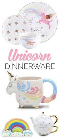Oh my days, I need ALL of this gorgeous Unicorn Dinnerware collection. They are a bargain too!