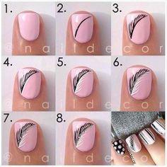 Black & white feather nail art tutorial.