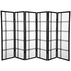 Oriental Furniture 5 ft. Tall Double Cross Shoji Screen - Black - 6 Panels