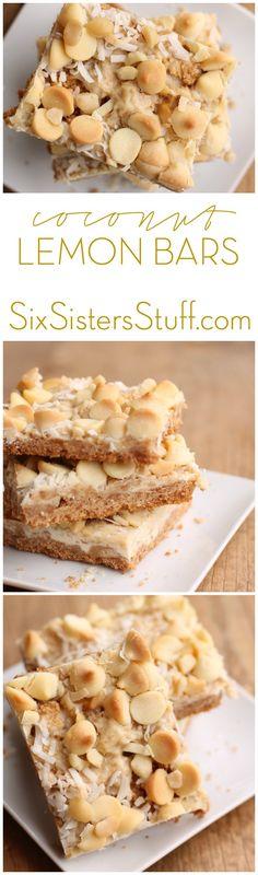 Coconut Lemon Bars Recipe from Six Sisters Stuff