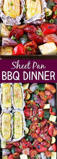 Sheet Pan BBQ Chicken Dinner - summer on a sheet pan!