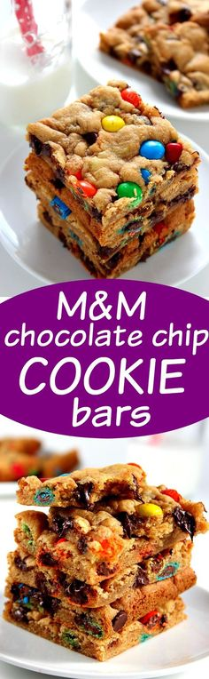 M&M Chocolate Chip Cookie Bars - soft and chewy cookie bars packed with gooey chocolate and bright and colorful M&Ms! All done in under 30 minutes!