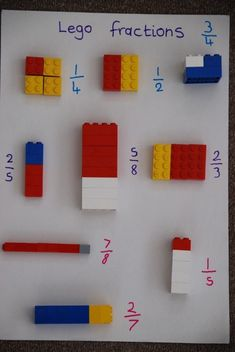 "Mr Withers 🚶🏻‍♂️👔 🌍💡 on Twitter: ""Lego Fractions! Great practical visual for introduction! 🤩👍🏻🧮… "" Math Games, Preschool Activities, Fraction Activities, Counting Games, 3rd Grade Activities, Fraction Games, Education Quotes For Teachers, Kids Education, Health Education"
