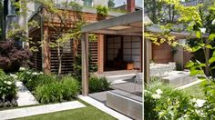 Prepare to be amazed by landscape architect Ron Holbrook's lush makeover of a downtown backyard, which includes an all-weather Asian-inspired loggia, an outdoor kitchen and a sleek dining area that's Outdoor Living Rooms, Outdoor Spaces, Outdoor Decor, Modern Landscaping, Backyard Landscaping, Oasis Backyard, Backyard House, Backyard Ideas, Backyard Planters