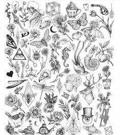 Creepy Nature Flash art of tattoo filler - Tiny tattoo ideas for women tattoo designs ideas männer männer ideen old school quotes sketches Flash Art Tattoos, Tattoo Flash Sheet, Body Art Tattoos, New Tattoos, Tattoo Arm, Inner Ear Tattoo, Ship Tattoos, Arabic Tattoos, Bird Tattoos