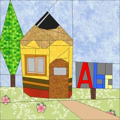 "Pencil school house - 12"" (30cm) Paper Piecing Patterns quiltartdesigns.blogspot.com"