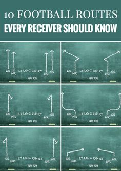 10 Football Routes Every Receiver Should Know Flag Football Plays, Football 101, Youth Football, Football Stuff, High School Football, American Football, Football Players, Football Coaching Drills, Football Workouts