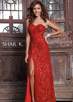 Shail K 3165 - Red Sequin Strapless Prom Dresses Online