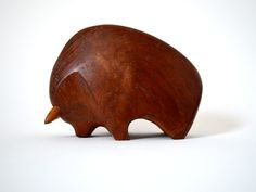 Danish Carved Teak Bull Sculpture