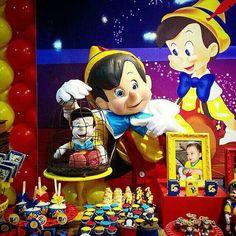 #Pinoquio da #MantoProducoes.  Mesa decorada pela #Festeggiarevale.  Festa realizada no #buffetinfantil #Minilandbuffet   #buffetminiland
