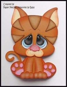 Cat Premade Paper Piecing Die Cut for Scrapbook Page byBabs