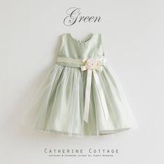 ベビードレス 緑 グリーン ペールグリーン