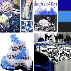 Royal Blue, Black and White - Black and white paired with another color is a classic. Blue is just one of the colors that work well with black and white. | #weddingcolors