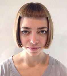 Hair cut by Valentina Bob Haircut With Bangs, Short Bangs, Short Fringe, Bob Fringe, Buzzcut Girl, Chin Hair, Hair Dye Colors, Bowl Cut, Shaved Hair