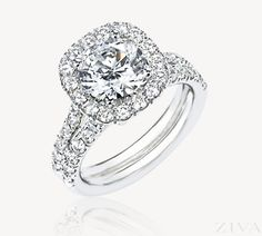 Square Halo Engagement Ring with Two-Row Diamond Shank