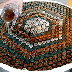 Just think about only DIY Bottle cap projects, there will be lots of bottle caps in your home and the time to use them has come. Bottle Cap Table, Beer Bottle Caps, Bottle Cap Art, Beer Caps, Bottle Top Crafts, Bottle Cap Projects, Wine Cork Crafts, Plastic Bottle Caps, Reuse Plastic Bottles