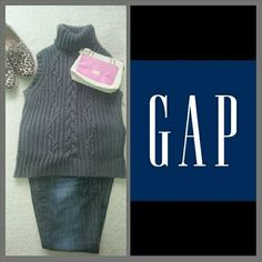 """Grey Sleeveless Cable Knit Turtle Neck Sweater Perfect for the cold winter days. Fabulous grey GAP sleeveless cable knit turtle neck sweater. Measures 22.5"""" from shoulder end of sweater. GAP Tops"""