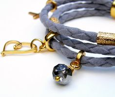 Handmade bracelet made with suede cord gold by RockAccessories