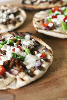 Three Meats Grilled Pizzas