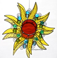 Stained Glass SUN Suncatcher  Lemon Yellow by stainedglasswhimsy, $30.00