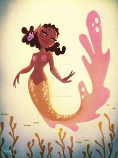 Gold Mermaid Art Print by Dylan Bonner - X-Small Siren Mermaid, Black Mermaid, Cute Mermaid, Mermaid Art, The Little Mermaid, Beautiful Mermaid, Mermaid Drawings, Black Girl Art, Black Artwork