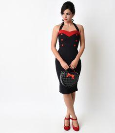 1950s Style Black  Red Sweetheart Halter Knit Wiggle Dress $78.00 AT vintagedancer.com